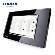 Livolo 3-контактный Бразильский / Итальянский Стандартный Розетка Черное Закаленное Стекло 10A AC 250V Настенные Powerpoints VL-C3C3BIT-82