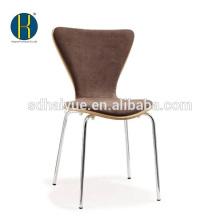 2017 популярные деревянный ресторан стул с мягкой подушки, обеденный стул с хромированной ноги