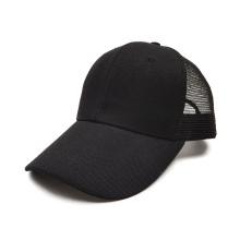 China factory deliver polyester cheap 6 panel baseball cap custom sports mesh black Trucker hat for men