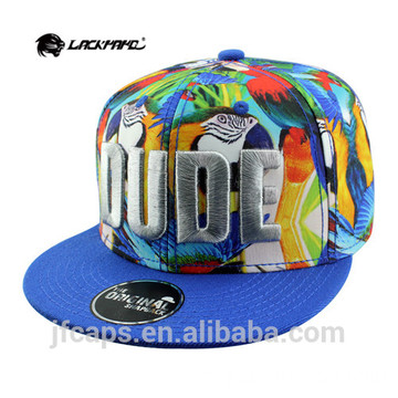 Bordados 3D baratos snapback hiphop flat caps