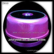 Base de luz LED de plástico roxo para cristal