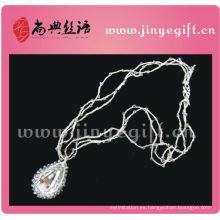 Collar de ganchillo de cristal de cadena de plata artesanal fina de joyería fina