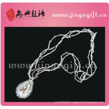 Fine Jewelry Fashion Handcrafted Silver Chain Crystal Crochet Necklace