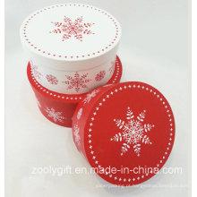 Natal neve impressão redonda caixa de presentes conjuntos