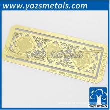 fertigen Sie Metallfestivalblätter Form Lesezeichen an