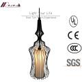 Lámpara colgante de hierro jaula pintada a mano de estilo chino