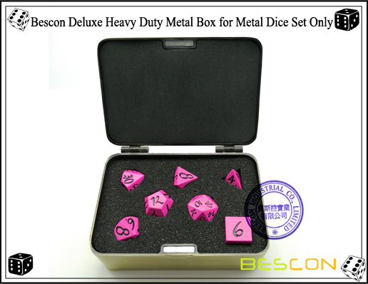 Bescon Fresh New Solid Metal Dice Set Deep Pink-9