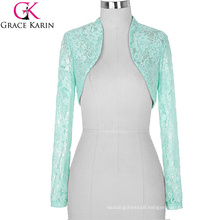 Stock Womens Ladies Long Sleeve Cropped Pale Turquoise Lace Shrug Bolero BP000049-3