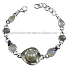 Blisterd Pearl And Multi Gemstone 925 Sterling Silver Bracelet Jewelry