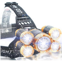 Ultra Bright 5LED Headlamp, USB Rechargeable Head Lamp Flashlight, 4 Modes Waterproof Zoomable Work Light for Outdoors