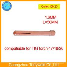 10N23 1.6mm collet para peças de soldagem de tocha de soldagem TIG