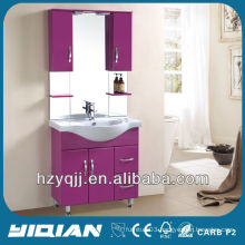 Hot Sale Free Standing Iraqi & Turkish Simple Design With Cupboards Gloss Voilet Bathroom Cabinet MDF Bathroom Vanity