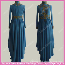 RP0079 Hot selling muslim women's clothing blue high neck long sleeve gold beads real kaftan dress muslim wedding gown pictures