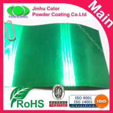 Highly protective transparent green powder coating