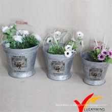 Набор из 3 ведер с цветочным узором Урожай старинных оцинкованных стальных ведер