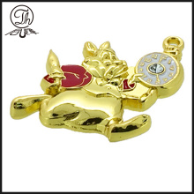 Gold 3D mouse metal charm bracelet