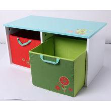 Magasin en bois de stockage de bois de stockage Conteneur en bois avec tiroir en tissu Meubles pour enfants