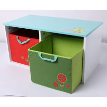 Factory Supply Wooden Toy Storage Wooden Container with Fabric Drawer Kids Furniture
