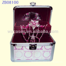 New style aluminum jewelry case with a tray and mirror inside