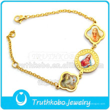 Cristo Epoxy Medalla Saint Bracele Pulsera de Oro de Acero Inoxidable Al Por Mayor de San Benito Brazalete de la Medalla Sagrada Brazalete Religioso