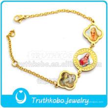Christ Epoxy Médaille Saint Bracele En Acier Inoxydable Or Bracelet En Gros Saint Benoît Saint Médaille Bracelet Bracelet Religieux