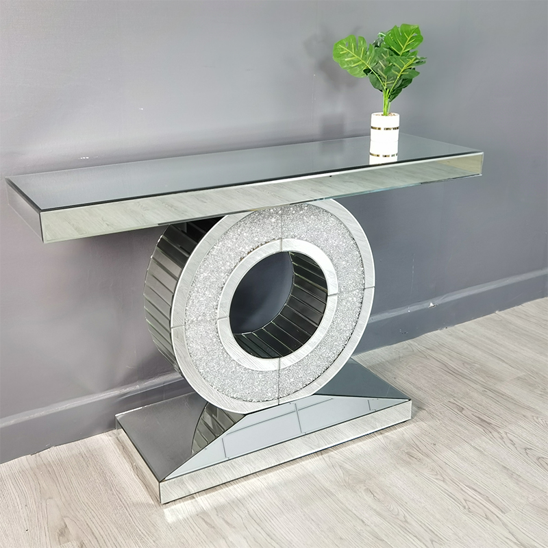 crystal mirror console table