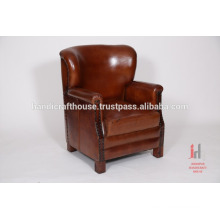 Antique leather brown living room sofa