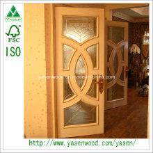 Swing Solid Wood Door with Glass Popular French Door