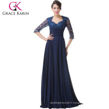 Grace Karin 2015 Robe de soirée formelle en dentelle bleue à manches longues avec manches longues CL6234