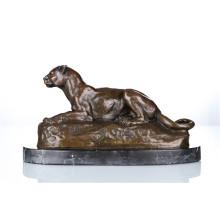 Tier Bronze Skulptur Leopard Dekoration Handwerk Messing Statue Tpal-088