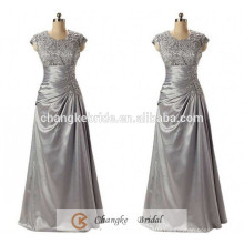 High Quality Evening Dresses Taffeta Plus Size Silver Applique Pattern Mother of the Bride Dress Custom Made