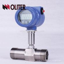 fabricante 4-20mA pulso 24VDC caudalímetro de turbina de gas líquido de aceite inteligente con LCD