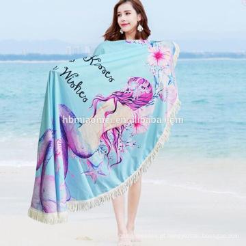 2017 customed alta qualidade adulto & kids velour impresso rodada toalha de praia com franja
