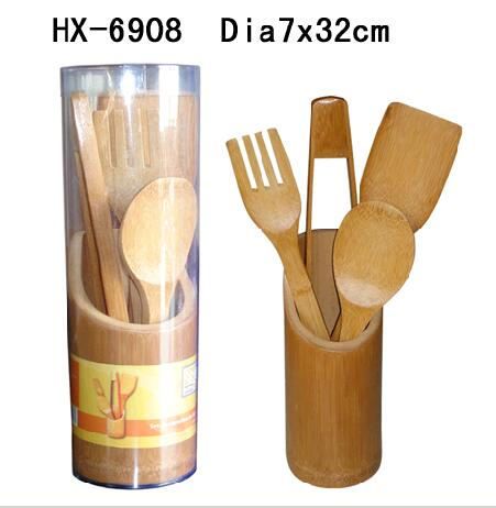 bamboo utensil set with canister