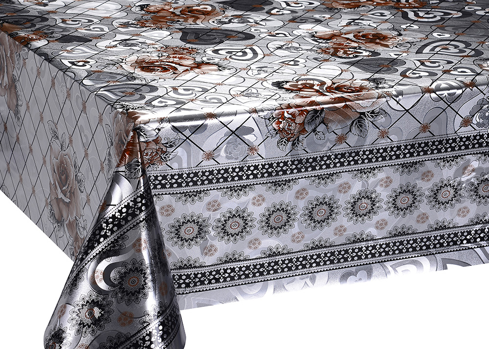 Silver Double Face Printed Tablecloth