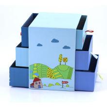 Cartoon cute design cardboard 3 layers display multilayer storage packaging gift box
