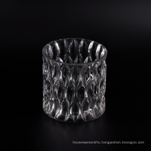 Large Size Faceted Glass Candle Jar
