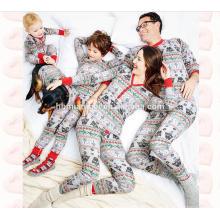 100% хлопка с длинным рукавом 2 шт. комплект печатных пижамы лишен соответствующие рождественские пижамы в заводской цене