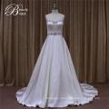 Слоновой кости атласа свадебные платья с рюшами
