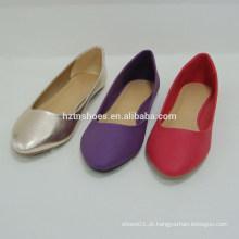 Nova chegada confortável piont toe mulheres cor pura calçados sapatos planos para a senhora