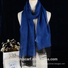 2016 cor lisa lã dupla camada com xaile de seda para senhora
