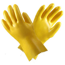 Желтые ПВХ бытовые водонепроницаемые перчатки