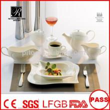 Platos de porcelana blancos duraderos de alta calidad para el restaurante de banquetes