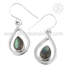 Glasierte Labradorit Edelstein Ohrring 925 Sterling Silber Großhandel Schmuck Jaipur handgefertigte Silber Schmuck