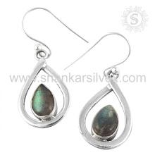 Boucles d'oreilles en pierres précieuses à la labradorie émaillée 925 en argent sterling Bijouterie en gros Jaipur Bijouterie en argent fait main