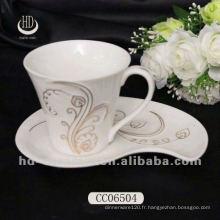 Coupe en céramique de qualité supérieure, belle autocollant en gros thé / café avec des soucoupes