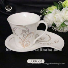 Top Quality Ceramic cup , beautiful decal wholesale tea/coffee cup with saucers