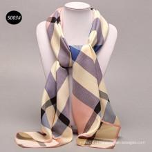 Comfortable Pretty women 100*100cm print big plaid wholesale 100% silk satin scarves ladies