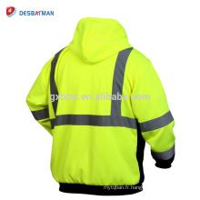 Sweat-shirt à deux tons de haute visibilité, sweat-shirt à capuche réfléchissant avec fermeture à glissière