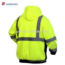 High Visibisity Two Tone Sweatshirt,Full Zip Reflective Safety Work Hoodie with Pocket